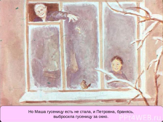 Но Маша гусеницу есть не стала, и Петровна, бранясь, выбросила гусеницу за окно.