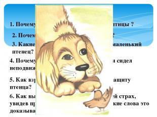 1. Почему автора восхитил поступок птицы ? 2. Почему собака начала «красться»? 3