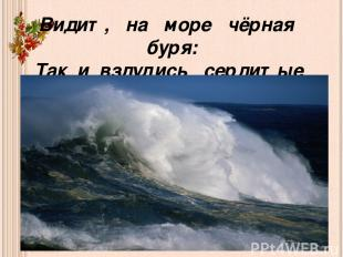 Видит, на море чёрная буря: Так и вздулись сердитые волны, так и ходят, так воем