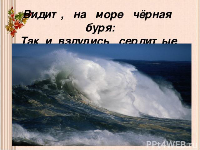 Видит, на море чёрная буря: Так и вздулись сердитые волны, так и ходят, так воем и воют.