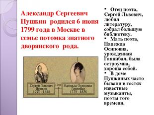 Александр Сергеевич Пушкин родился 6 июня 1799 года в Москве в семье потомка зна