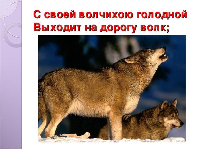 С своей волчихою голодной Выходит на дорогу волк;