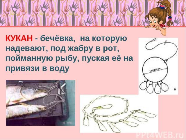 КУКАН - бечёвка, на которую надевают, под жабру в рот, пойманную рыбу, пуская её на привязи в воду