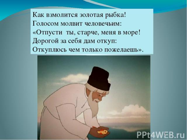 Как взмолится золотая рыбка! Голосом молвит человечьим: «Отпусти ты, старче, меня в море! Дорогой за себя дам откуп: Откуплюсь чем только пожелаешь».