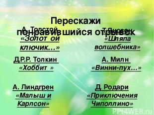 Перескажи понравившийся отрывок А. Толстой «Золотой ключик…» Т.Янссон «Шляпа вол