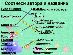 Соотнеси автора и название книги Туве Янссон Джон Толкин Алан Милн Алексей Толст