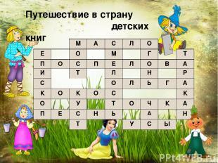Путешествие в страну детских книг М А С Л О Е О М Г Т П О С П Е Л О В А И Т Л Н