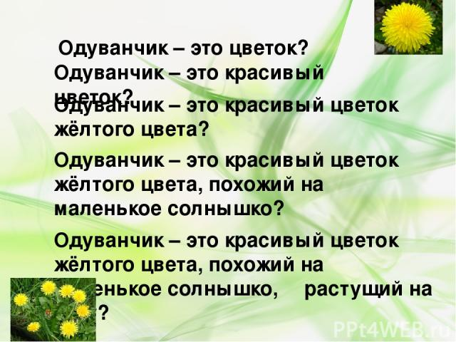Одуванчик – это цветок? Одуванчик – это красивый цветок? Одуванчик – это красивый цветок жёлтого цвета? Одуванчик – это красивый цветок жёлтого цвета, похожий на маленькое солнышко? Одуванчик – это красивый цветок жёлтого цвета, похожий на маленькое…