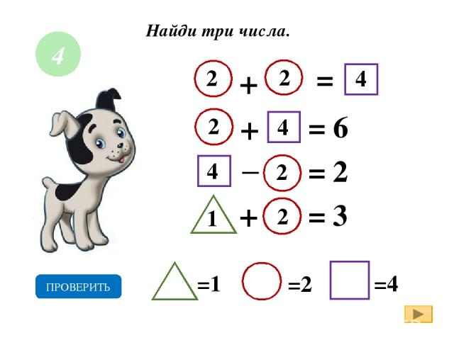 Найди три числа. + = + = 6 = 2 2 =1 =2 =4 ПРОВЕРИТЬ _ 4 + = 3 1 2 2 2 2 4 4 4