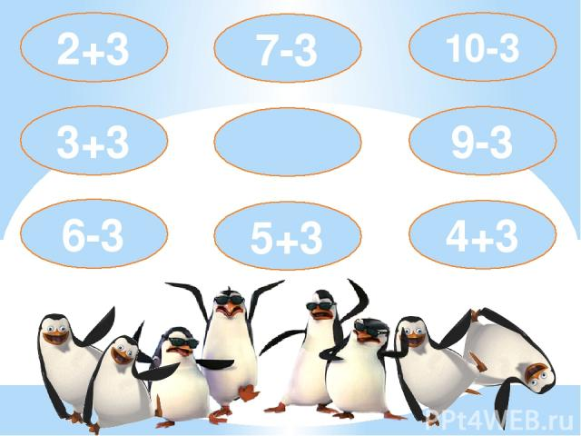 5+3 7-3 2+3 3+3 6-3 9-3 4+3 10-3