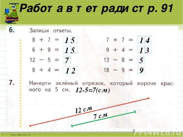 Работа в тетради стр. 91 1 5 1 5 7 1 2 1 4 1 3 5 9 12 см 12 см 12-5=7(см) 7 см