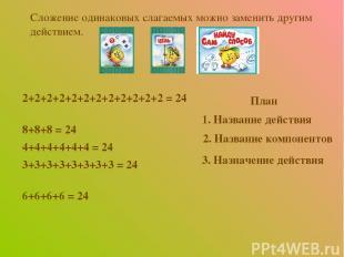 2+2+2+2+2+2+2+2+2+2+2+2 = 24 8+8+8 = 24 4+4+4+4+4+4 = 24 3+3+3+3+3+3+3+3 = 24 6+