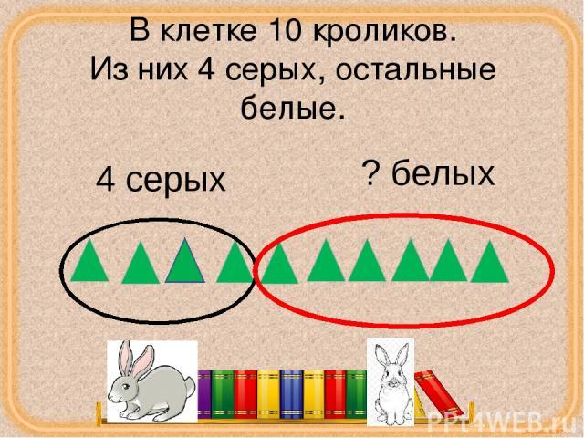 В клетке 10 кроликов. Из них 4 серых, остальные белые. 4 серых ? белых corowina.ucoz.com