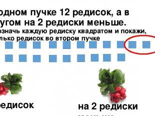 В одном пучке 12 редисок, а в другом на 2 редиски меньше. Обозначь каждую редиск
