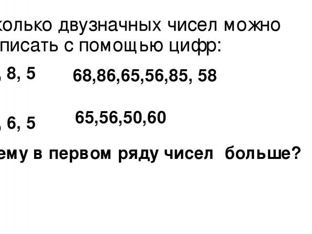Сколько двузначных чисел можно записать с помощью цифр: 6, 8, 5 0, 6, 5 68,86,65,56,85, 58 65,56,50,60 Почему в первом ряду чисел больше?