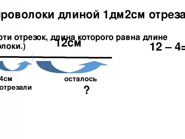 От проволоки длиной 1дм2см отрезали 4см (начерти отрезок, длина которого равна длине проволоки.) 12см 4см отрезали осталось ? 12 – 4=8