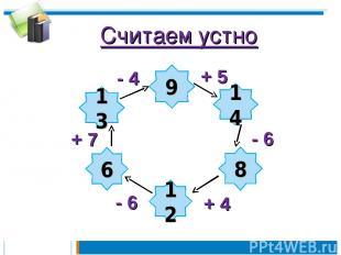 Считаем устно 9 14 8 12 6 13 - 4 - 6 + 4 - 6 + 7 + 5