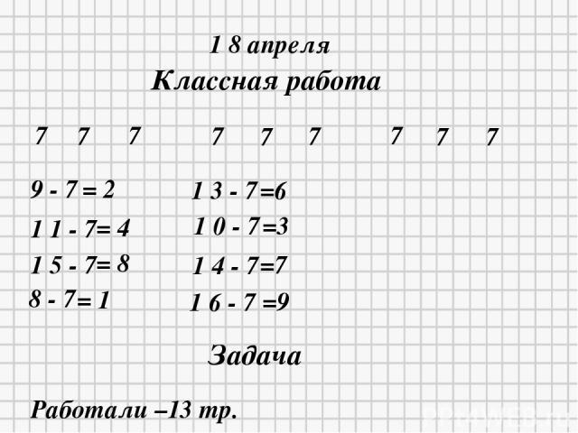 1 8 апреля Классная работа 7 7 7 7 7 7 7 7 7 9 - 7 = 2 1 1 - 7 = 4 1 5 - 7 = 8 8 - 7 = 1 1 3 - 7 =6 1 0 - 7 =3 1 4 - 7 =7 1 6 - 7 =9 Задача Работали –13 тр.