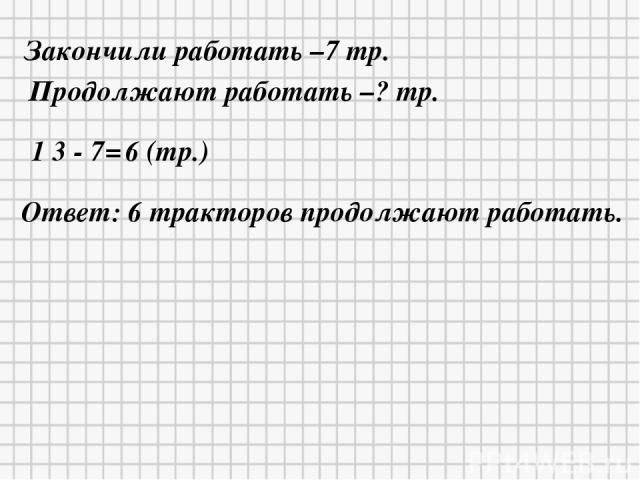 Закончили работать –7 тр. Продолжают работать –? тр. 1 3 - 7= 6 (тр.) Ответ: 6 тракторов продолжают работать.