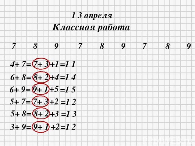 * * 1 3 апреля Классная работа 7 8 9 7 8 9 7 9 8 4+ 7= 7+ 3 +1 =1 1 6+ 8= 8+ 2 +4 =1 4 6+ 9= 9+ 1 5+ 7= 7+ 3 5+ 8= 8+ 2 3+ 9= 9+ 1 +5 +2 +3 +2 =1 5 =1 2 =1 3 =1 2