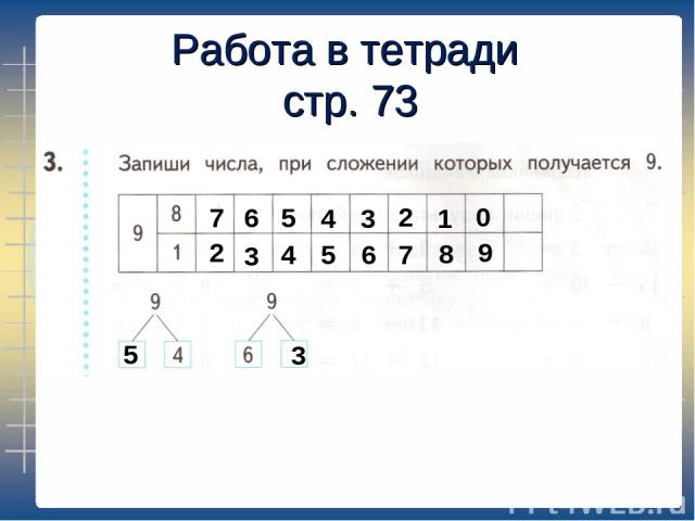 Работа в тетради стр. 73 7 2 6 3 5 4 4 5 3 6 2 7 1 8 0 9 5 3