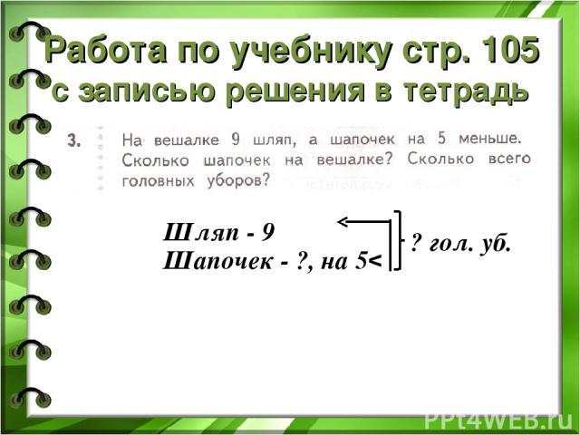 Работа по учебнику стр. 105 с записью решения в тетрадь Шляп - 9 Шапочек - ?, на 5 v ? гол. уб.