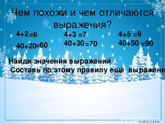 Чем похожи и чем отличаются выражения? 4+2 40+20 4+3 40+30 4+5 40+50 Найди значения выражений Составь по этому правилу ещё выражения =6 =60 =7 =70 =9 =90 corowina.ucoz.com