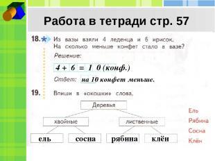 Работа в тетради стр. 57 4 + 6 = 1 0 (конф.) на 10 конфет меньше. ель сосна ряби