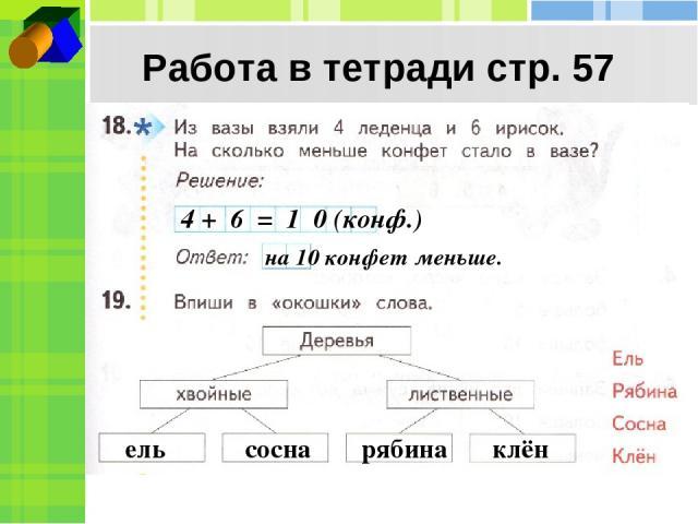 Работа в тетради стр. 57 4 + 6 = 1 0 (конф.) на 10 конфет меньше. ель сосна рябина клён
