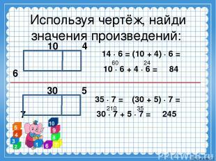 Используя чертёж, найди значения произведений: 10 4 6 14 ∙ 6 = (10 + 4) ∙ 6 = 60