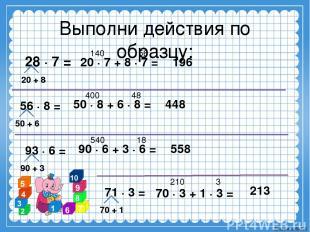 Выполни действия по образцу: 28 ∙ 7 = 140 56 20 ∙ 7 + 8 ∙ 7 = 196 56 ∙ 8 = 50 +