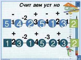 Считаем устно 5 4 -1 +3 -2 +2 -1 -4 1 1 5 2 3 2 3 +2 -2 +4 +1 -3 -1 3 2 5 1 2