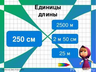 Единицы длины Молодцы 47 дм 4 дм 7 см 470 см 4700 см Тутубалина Дина Алексеевна