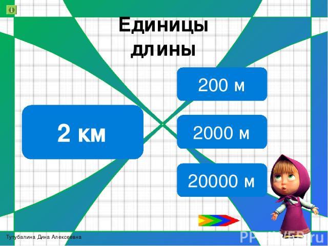 Единицы длины Молодцы 13 000 м 1км 300 м 13 км 130 км Тутубалина Дина Алексеевна