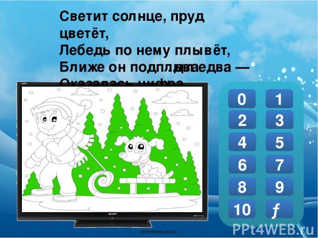 Друг на друге два кольца, Удалых два молодца. В числовой их ряд попросим И получим цифру 0 1 2 3 4 5 6 7 8 9 10 → … восемь. oineverova.usoz.ru