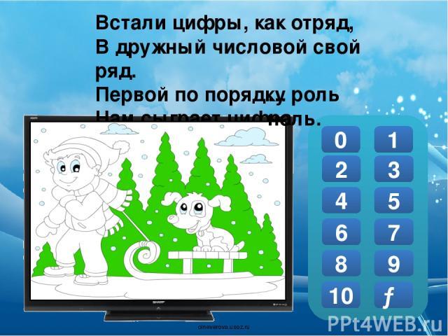 В школе надо не лениться: Рисовать, писать, учиться, На уроках отвечать. И в дневник поставят 0 1 2 3 4 5 6 7 8 9 10 … пять. → oineverova.usoz.ru
