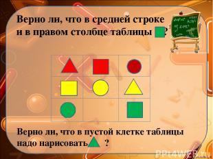 Верно ли, что в средней строке и в правом столбце таблицы ? Верно ли, что в пуст