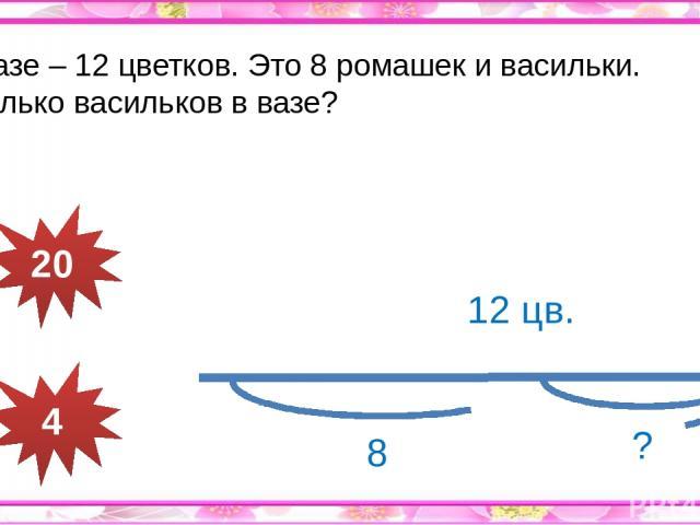 В вазе – 12 цветков. Это 8 ромашек и васильки. Сколько васильков в вазе? 20 4 12 цв. ? 8