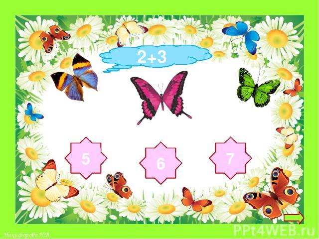 Инструкция: -Реши пример Из трёх ответов на цветке -выбери правильный - Если ты ошибся – бабочка исчезнет -Если ответил верно, то бабочка сядет на цветок Переход на следующий слайд Желаю всем удачи! 3+3 6 8 7 Никифорова Н.В.