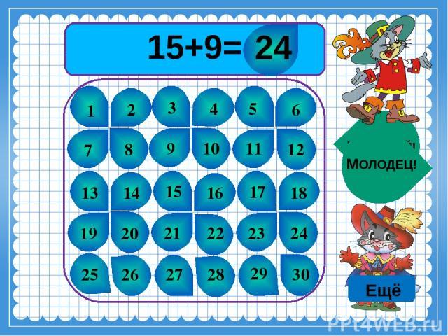 15+9= 1 2 3 4 5 6 7 8 9 10 11 12 13 14 15 16 17 18 19 20 21 22 23 24 25 26 27 28 29 30 ПОДУМАЙ! МОЛОДЕЦ! 24 Ещё