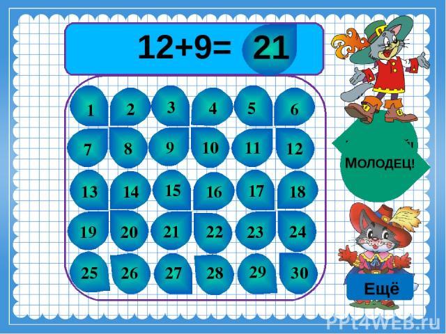 12+9= 1 2 3 4 5 6 7 8 9 10 11 12 13 14 15 16 17 18 19 20 21 22 23 24 25 26 27 28 29 30 ПОДУМАЙ! МОЛОДЕЦ! 21 Ещё