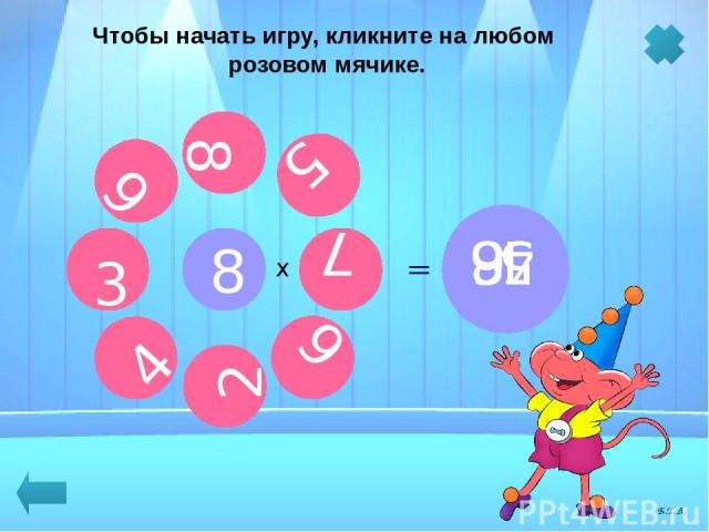 8 х Чтобы начать игру, кликните на любом розовом мячике. 4 3 8 7 2 9 6 5 = 40 = 64 = 72 = 24 = 32 = 16 = 48 = 56 Б.Т.В.