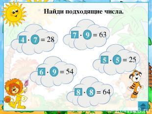 Найди подходящие числа. 4 ∙ 7 = 28 7 ∙ 9 = 63 6 ∙ 9 = 54 5 ∙ 5 = 25 8 ∙ 8 = 64 Д