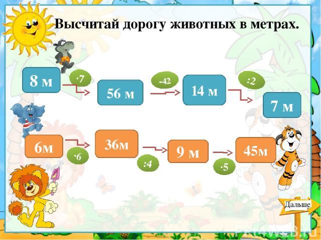 Высчитай дорогу животных в метрах. 8 м 56 м 14 м 7 м 6м 45м 9 м 36м ∙7 -42 :2 ∙6 :4 ∙5 Дальше Для проверки ответа кликнуть по овалу.
