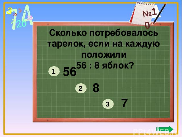 Сколько потребовалось тарелок, если на каждую положили 56 : 8 яблок? 56 8 7 1 2 3 №10