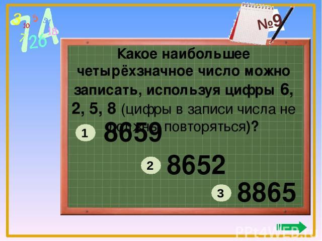 Какое наибольшее четырёхзначное число можно записать, используя цифры 6, 2, 5, 8 (цифры в записи числа не должны повторяться)? 8659 8652 8865 1 2 3 №9