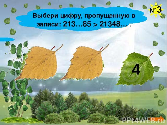 Выбери цифру, пропущенную в записи: 213…85 > 21348… . №3 3 0 4
