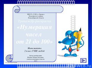 Тренажёр-раскраска «Нумерация чисел от 21 до 100» МКОУ «СОШ ст. Евсино» Искитимс