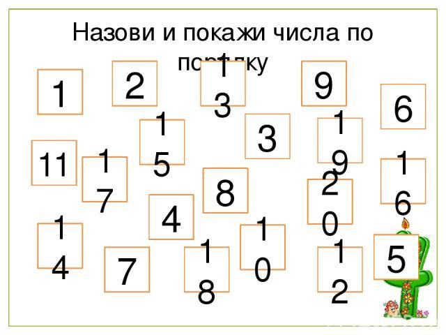 Назови и покажи числа по порядку 1 8 19 7 3 17 12 10 2 14 9 16 18 6 11 20 5 15 4 13