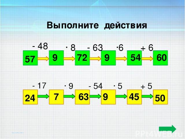Выполните действия 57 60 - 48 ∙ 8 - 63 ∙6 + 6 9 72 9 54 24 50 - 17 ∙ 9 - 54 ∙ 5 + 5 7 63 9 45 ТПО -2 №8(1, 2) стр.5